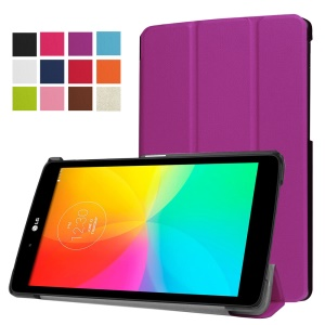 Tri-fold Stand Leather Tablet Case for LG G Pad III 8.0 - Purple