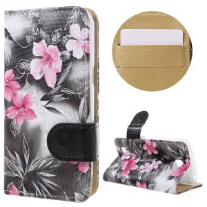 Elegant Flowers Wallet Leather Protective Case for LG K4 - Black