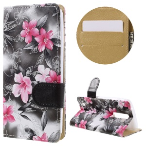 Blooming Flower Leather Wallet Stand Case Cover for LG K8 - Grey