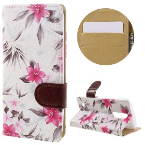 Blooming Flower Leather Case Stand Card Slot Cover for LG K8 - White