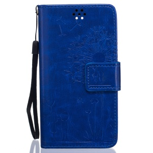 Dandelion and Lovers PU Leather Wallet Case for LG Leon H320 / Leon 4G LTE H340N - Blue