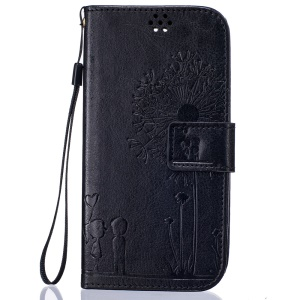 Dandelion and Lovers Leather Wallet Case for LG K7 / Tribute 5 - Black