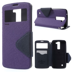 ROAR KOREA View Window Stand Leather Card Holder Case for LG K8 - Purple
