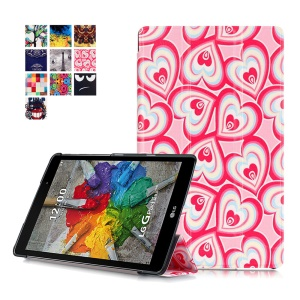 Tri-fold Stand Leather Flip Case for LG G Pad 3 8.0 V525 - Multiple Hearts