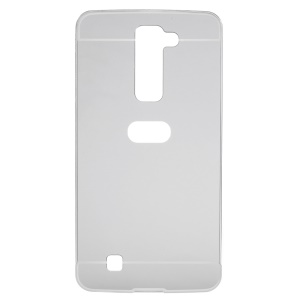 Metal Frame + Mirror-like Plastic Back Cover for LG K7 / Tribute 5 - Silver