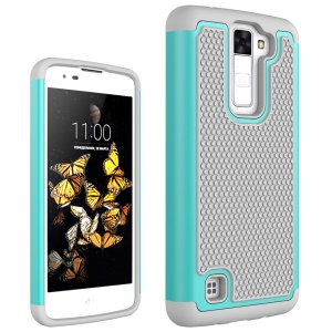 Football Grain PC + Silicone Hybrid Shell Case for LG K8 - Grey / Cyan
