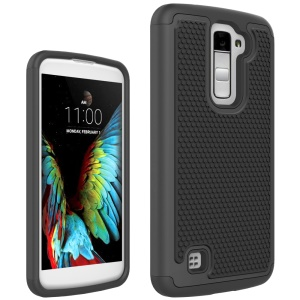 Football Grain PC + Silicone Hybrid Shell Case for LG K10 - Black