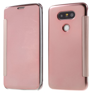 Smart Mirror Surface PC + Leather Flip Cover for LG G5/ G5 SE - Rose Gold