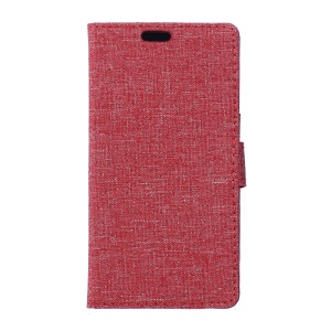 Linen Texture Wallet Stand Leather Cover for LG X Power - Red