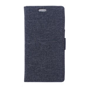 Linen Texture Wallet Stand Leather Phone Cover for LG X Power - Dark Blue