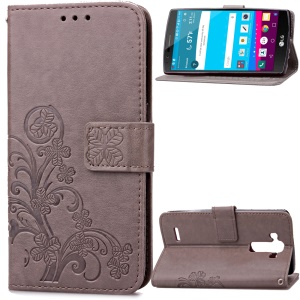 Flowers Pattern Leather Wallet Cover for LG G4 US991 LS991 VS986 - Grey