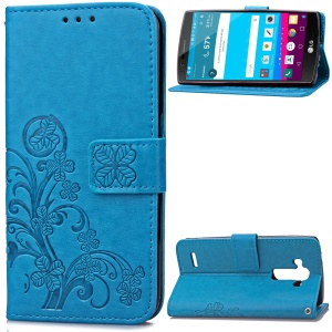 Flowers Pattern Wallet Leather Stand Case for LG G4 US991 LS991 VS986 - Blue
