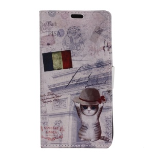 Leather Wallet Case for LG X Power - Cat and French Flag