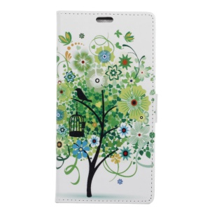 Leather Card Slots Cover for LG X Power - Green Tree & Bird Cage