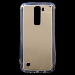 Mirror Effect Acrylic Back + TPU Edges Cover Case for LG K7 / Tribute 5 - Gold
