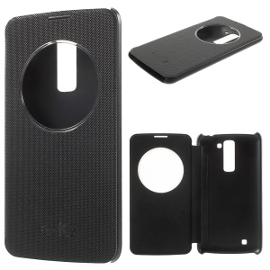 Small Checkers Smart Window View Leather Case for LG K7/Tribute 5 - Black