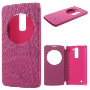 Small Checkers Window View Smart Leather Cover for LG K7/Tribute 5 - Rose