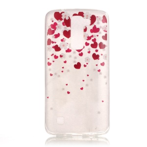 Glossy IMD TPU Phone Cover for LG K8 - Red Hearts
