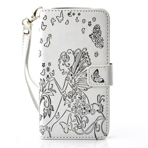 Girl with Wings and Butterfly Rhinestone PU Leather Cover for LG K10 - Black / White