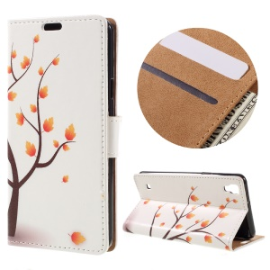 Wallet Leather Stand Cover for LG X Style - Autumn Maple Tree