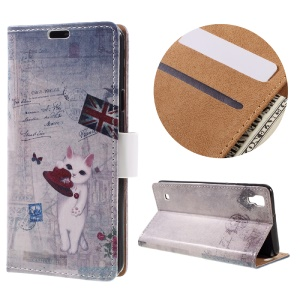 Wallet Leather Magnetic Case for LG X Style - Cute Cat Holding Hat and Retro UK Flag