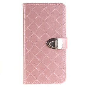 Metal Button Grid Pattern Magnetic Leather Wallet Case for LG Stylus 2/LG G Stylo 2 - Pink