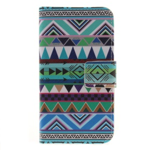Phone Leather Stand Case for LG K4 - Triangles Pattern