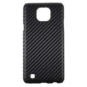 PU Leather Coated Hard Phone Case for LG X Cam - Carbon Fiber Texture