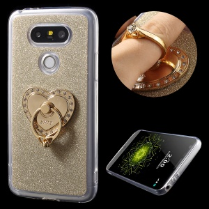 For LG G5/G5 SE Sparkle Powder TPU Gel Shell with Heart Ring Holder Kickstand - Gold