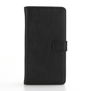 For LG X Power Retro Crazy Horse Leather Case with Wallet Stand - Black