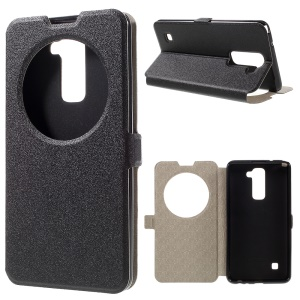 Sand-like Texture Hollow Window Leather Case for LG Stylus 2/G Stylo 2 - Black