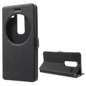 Sand-like Texture Hollow Window Leather Case for LG Zero / Class F620 H740 - Black