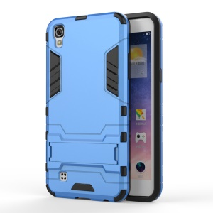 Hybrid PC and TPU Kickstand Case Protector for LG X Power - Baby Blue