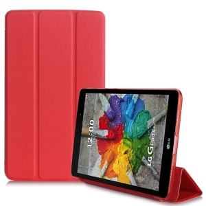 Slim Tri-fold Leather Stand Shell Case for LG G Pad III 8.0 V525 - Red