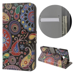 Patterned Flip Leather Wallet Stand Shell for LG K5 - Paisley Pattern