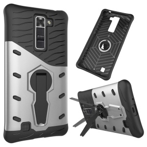 Armor PC + TPU Kickstand Combo Cover for LG K7/Tribute 5 - Silver