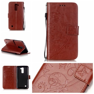 Imprinted Leather Wallet Case for LG K10 - Brown