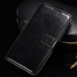 Crazy Horse Flip Leather Wallet Stand Cover for LG Leon 4G LTE H340N - Black