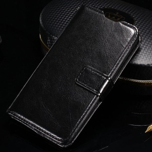 Crazy Horse Smooth Leather Wallet Cover for LG Spirit H440Y H422 - Black