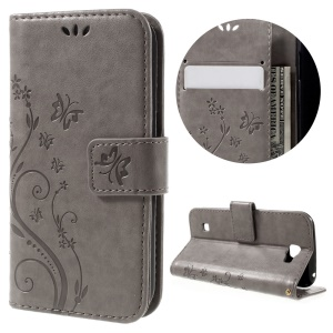 Floral Butterfly Wallet Stand Leather Case Cover for LG K3 - Grey