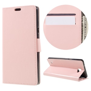 Crazy Horse Leather Case Stand Card Holder for LG X5 - Pink