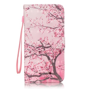 Patterned Leather Card Slot Case for LG Stylus 2/LG G Stylo 2 - Plum Flowers
