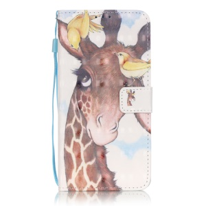 Patterned PU Leather Wallet Case for LG Stylus 2/LG G Stylo 2 - Two Birds and Giraffe