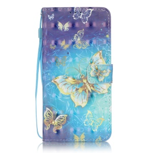 Patterned Leather Cover with Hand Strap for LG Stylus 2/LG G Stylo 2 - Golden Butterflies