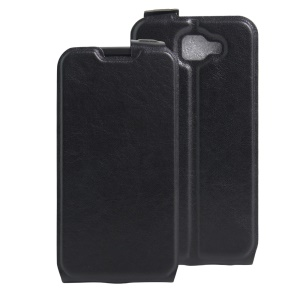 Crazy Horse Vertical Leather Card Holder Case for LG K3 (3G) - Black
