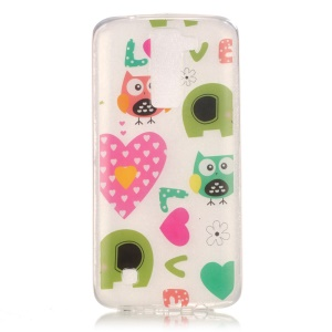 Patterned Clear Gel TPU IMD Phone Case for LG K10 - Owls and Love Hearts