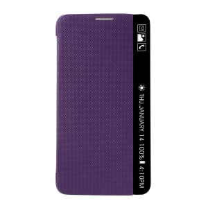 View Window Leather Smart Flip Phone Shell for LG Stylus 2 - Purple