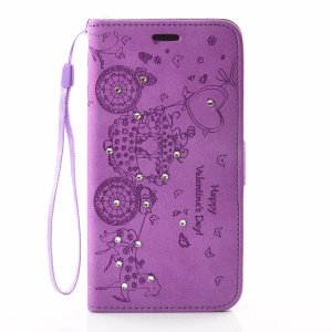 Imprinted Butterfly Fairy Rhinestone Wallet Leather Stand Cover for LG G5 / G5 SE - Purple
