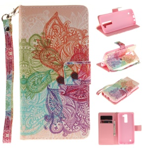 Wallet Leather Stand Case for LG K8 - Colorful Flowers