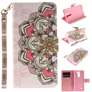 Wallet Leather Magnetic Case for LG K8 - Beautiful Flowers